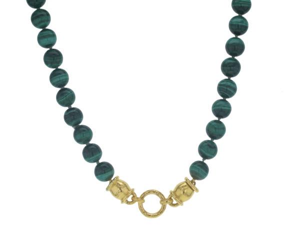 """Elizabeth Locke 17"""" """"Lucrezia"""" Clasp Necklace With 10mm Malachite Beads thumbnail"""
