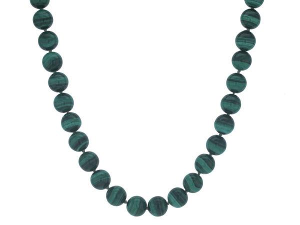 "Elizabeth Locke 17"" ""Lucrezia"" Clasp Necklace With 10mm Malachite Beads model shot #4"