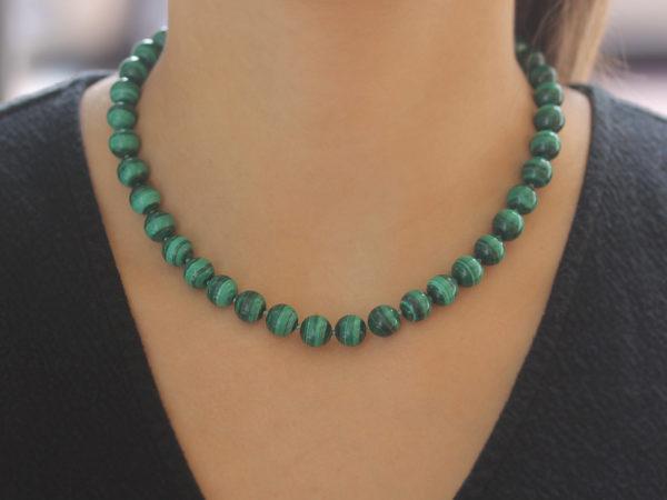 "Elizabeth Locke 17"" ""Lucrezia"" Clasp Necklace With 10mm Malachite Beads model shot #2"