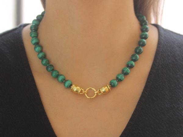 "Elizabeth Locke 17"" ""Lucrezia"" Clasp Necklace With 10mm Malachite Beads"