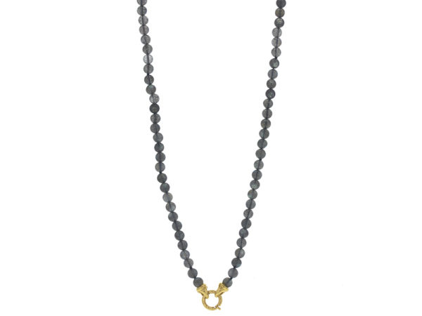 "Elizabeth Locke 35"" ""Francesca"" Clasp Necklace With 6mm Cabochon Labradorite Beads thumbnail"