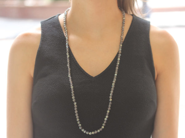 "Elizabeth Locke 35"" ""Francesca"" Clasp Necklace With 6mm Cabochon Labradorite Beads model shot #2"