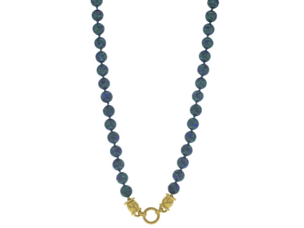 "Elizabeth Locke 31"" ""Lucrezia"" Clasp Necklace With 10mm Azurmalachite Beads thumbnail"