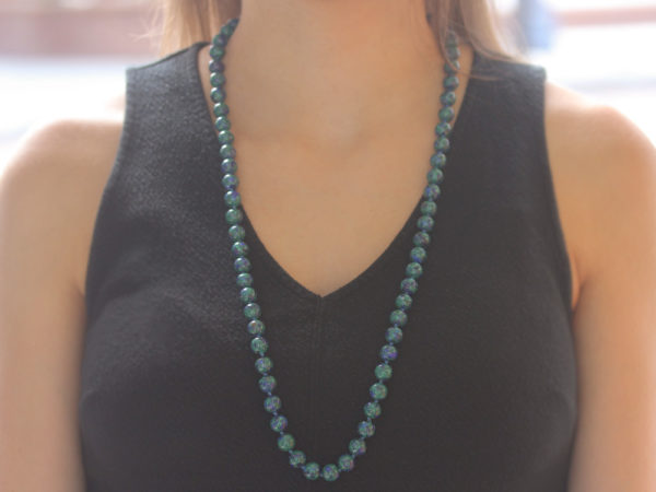 "Elizabeth Locke 31"" ""Lucrezia"" Clasp Necklace With 10mm Azurmalachite Beads"