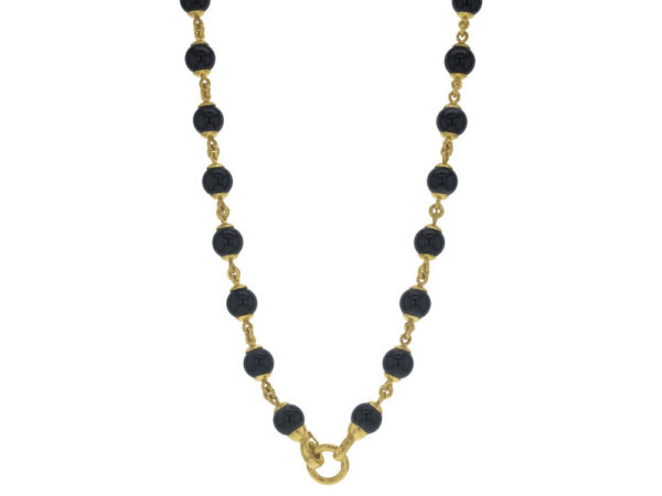 """Elizabeth Locke 21"""" Circle Clasp Necklace With 10mm Onyx Beads and Gold Links thumbnail"""