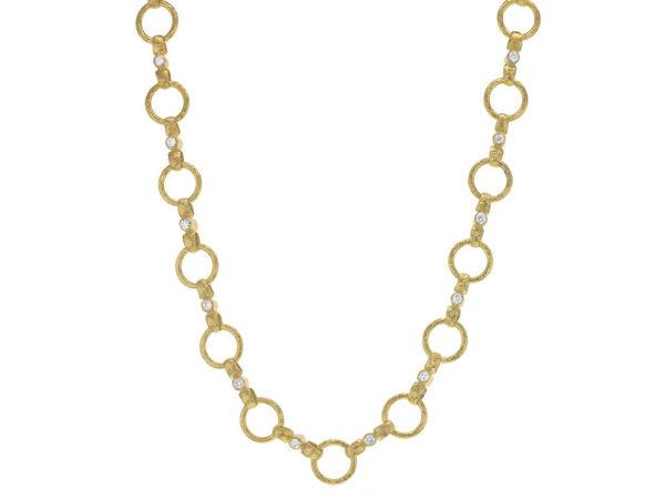 "Elizabeth Locke 17"" Diamond ""Celtic"" Hammered Link Necklace thumbnail"