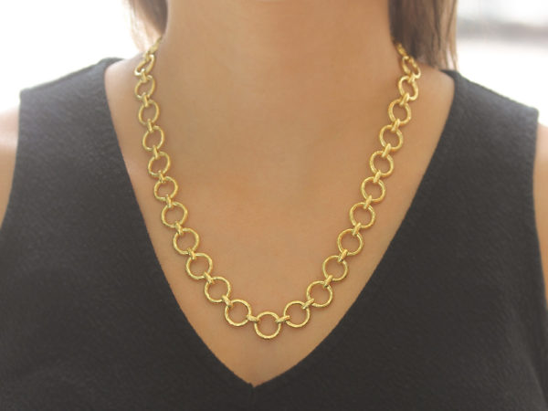 "Elizabeth Locke 21"" ""Farnese"" Large Hammered Link Necklace"