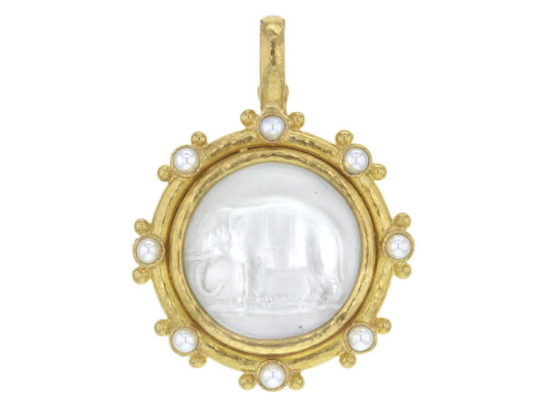 "Elizabeth Locke Crystal Venetian Glass Intaglio ""Elephant"" Pendant with White Pearls and Gold Dots thumbnail"