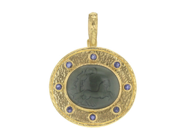 "Elizabeth Locke Smoke Venetian Glass Intaglio ""Reverse Cabochon Goddess with Chariot"" Pendant with Iolite thumbnail"