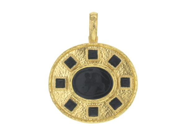 "Elizabeth Locke Black Venetian Glass Intaglio ""Demel Sphinx"" Pendant with Square Sugarloaf Black Onyx thumbnail"