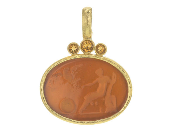 "Elizabeth Locke Amber Venetian Glass Intaglio ""Mystic Ball"" Pendant With Faceted Citrines thumbnail"