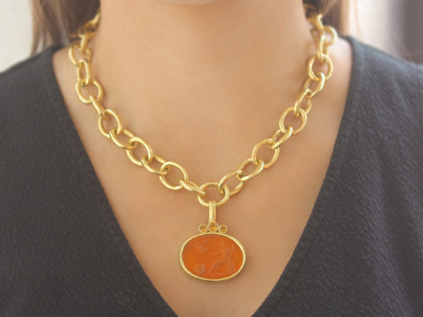 "Elizabeth Locke Amber Venetian Glass Intaglio ""Mystic Ball"" Pendant With Faceted Citrines model shot #2"
