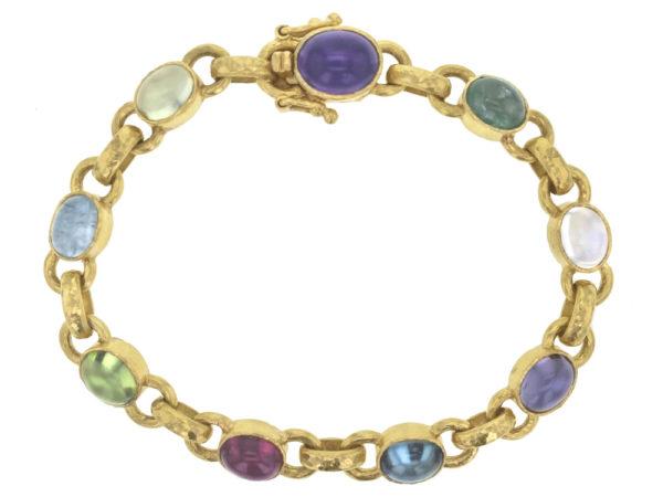 "Elizabeth Locke Jewel-Tone ""Tutti Frutti"" Oval Cabochon Stone Link Bracelet with Amethyst Clasp thumbnail"