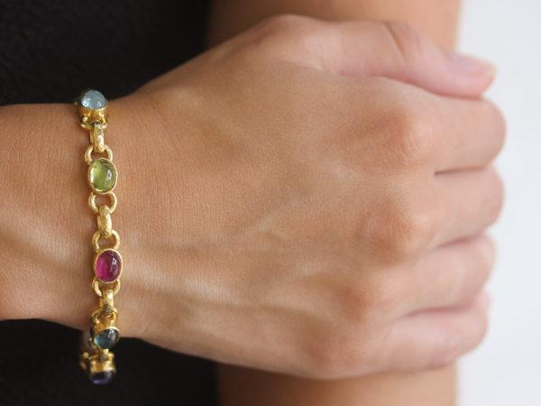 "Elizabeth Locke Jewel-Tone ""Tutti Frutti"" Oval Cabochon Stone Link Bracelet with Amethyst Clasp"