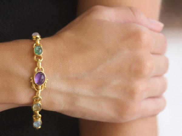 "Elizabeth Locke Jewel-Tone ""Tutti Frutti"" Oval Cabochon Stone Link Bracelet with Amethyst Clasp model shot #2"
