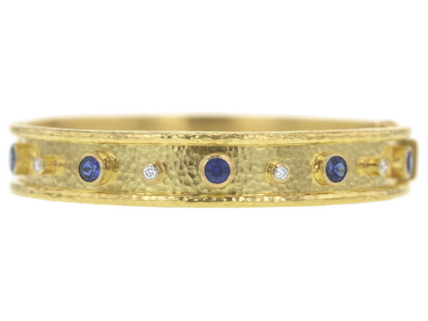 Elizabeth Locke Faceted Blue Sapphire and Diamond Bangle Bracelet thumbnail