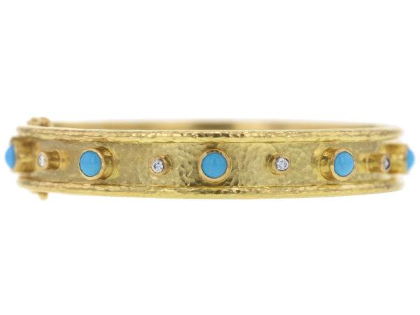 Elizabeth Locke Turquoise and Diamond Bangle Bracelet thumbnail