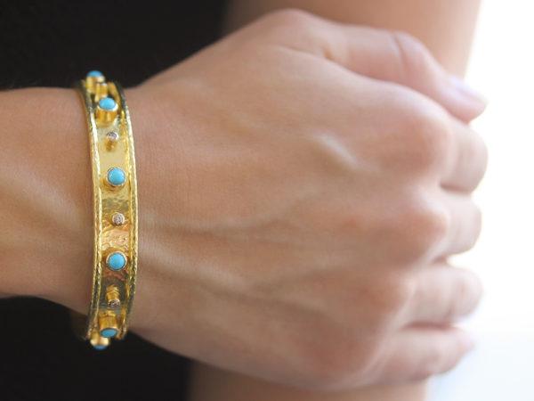 Elizabeth Locke Turquoise and Diamond Bangle Bracelet