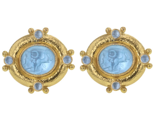 "Elizabeth Locke Light Aqua Venetian Glass Intaglio ""Cab Quadriga"" & Cabochon Aquamarine Earrings thumbnail"