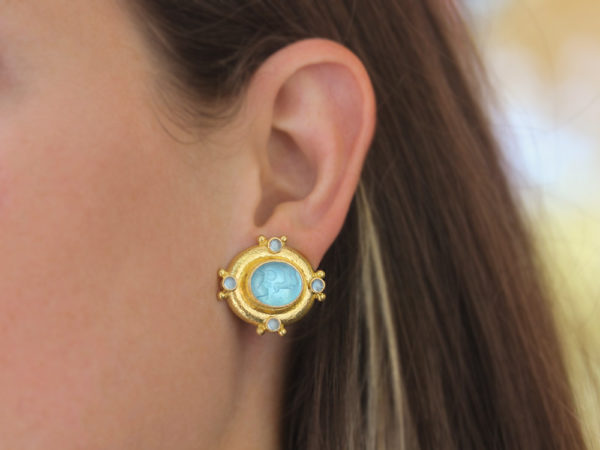 "Elizabeth Locke Light Aqua Venetian Glass Intaglio ""Cab Quadriga"" & Cabochon Aquamarine Earrings"