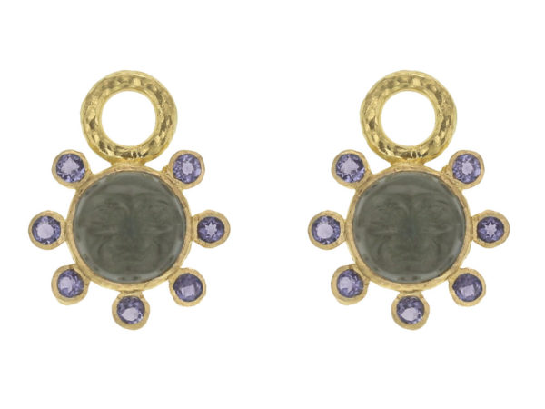 "Elizabeth Locke Smoke Venetian Glass Intaglio ""Man in the Moon"" Earring Charms With Faceted Iolite Halo thumbnail"
