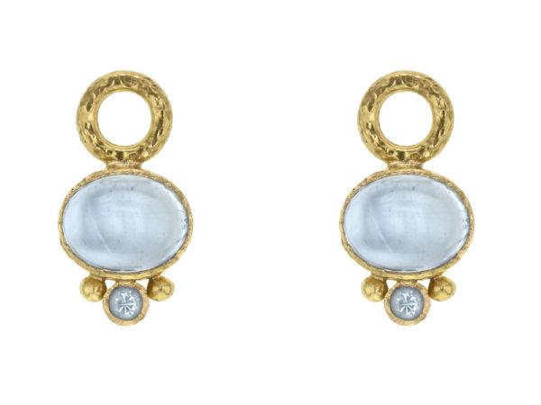 Elizabeth Locke Horizontal Oval Cabochon Aquamarine Earring Charms for Hoops with Bottom Faceted Aquamarine thumbnail