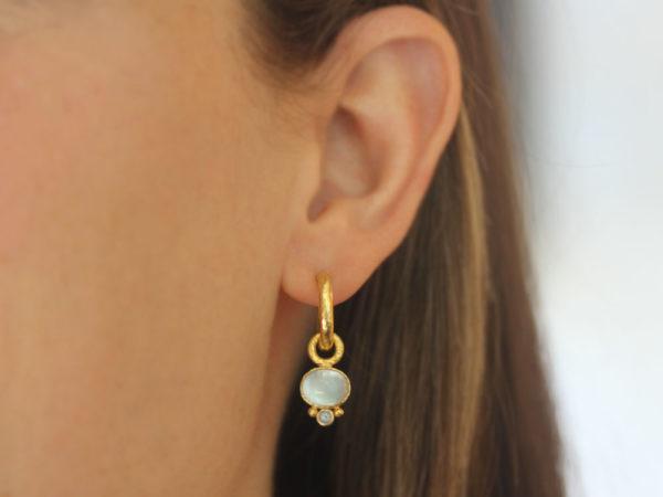 Elizabeth Locke Horizontal Oval Cabochon Aquamarine Earring Charms for Hoops with Bottom Faceted Aquamarine
