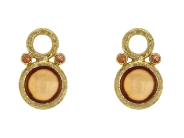 Elizabeth Locke Round Cabochon Citrine Earring Charms with Spessartite Garnet for Hoops thumbnail
