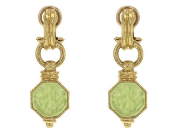 "Elizabeth Locke Lime Venetian Glass Intaglio ""Donna Putto"" Double-Banded Cheerio Drop Earrings thumbnail"