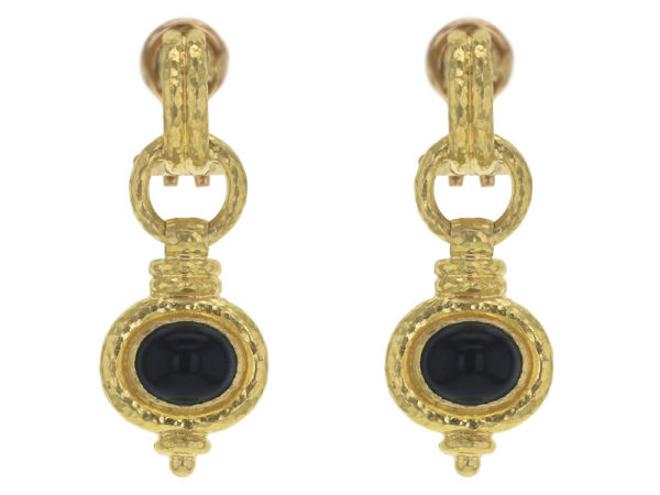 "Elizabeth Locke Double-Banded ""Cheerio"" Oval Onyx Drop Earrings thumbnail"