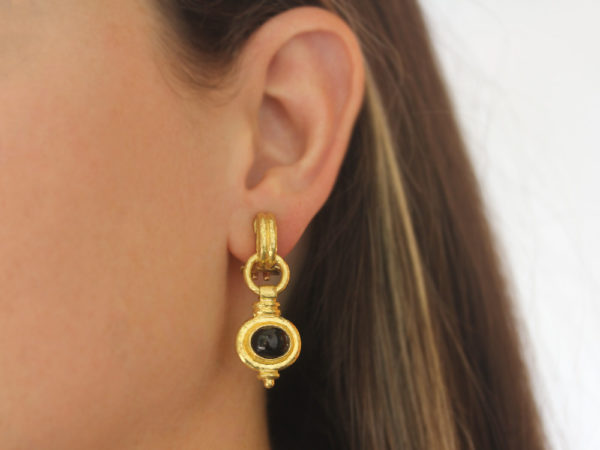 "Elizabeth Locke Double-Banded ""Cheerio"" Oval Onyx Drop Earrings"