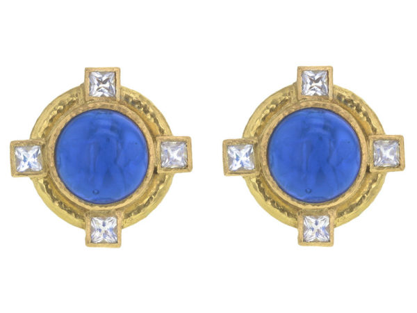 """Elizabeth Locke Peacock Venetian Glass Intaglio """"Cab Putto and Duck"""" Earrings with Faceted Moonstone thumbnail"""