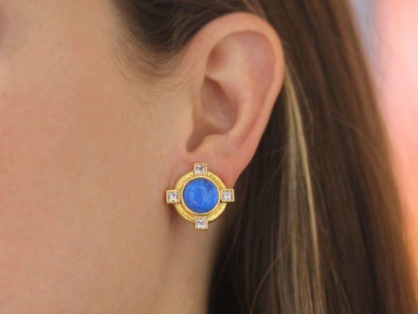 """Elizabeth Locke Peacock Venetian Glass Intaglio """"Cab Putto and Duck"""" Earrings with Faceted Moonstone"""