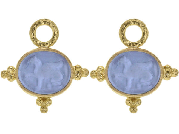"Elizabeth Locke Cerulean Venetian Glass Intaglio ""Grifo"" Earring Charms With Three Gold Triads on Thin Bezel thumbnail"