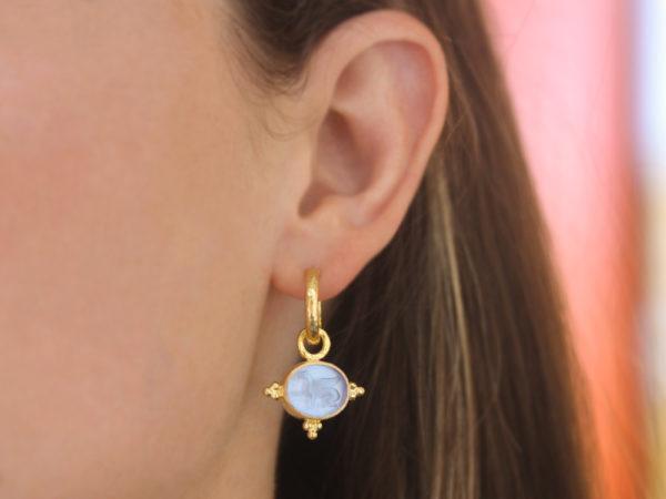 "Elizabeth Locke Cerulean Venetian Glass Intaglio ""Grifo"" Earring Charms With Three Gold Triads on Thin Bezel"
