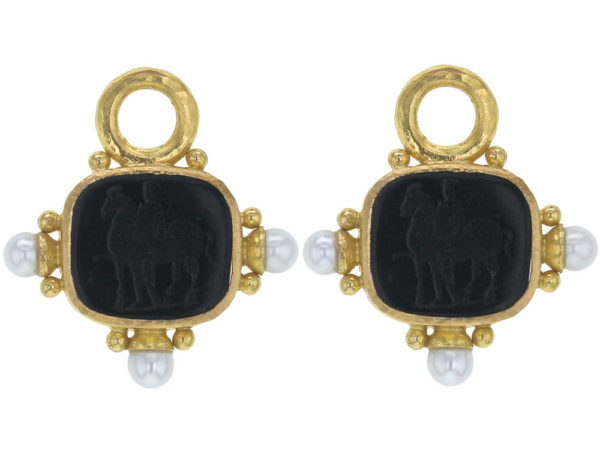 """Elizabeth Locke Black Venetian Glass Intaglio """"God with Horse"""" Earring Charms With Pearls and Side Gold Dots for Hoop thumbnail"""
