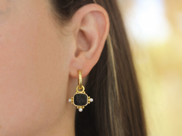 """Elizabeth Locke Black Venetian Glass Intaglio """"God with Horse"""" Earring Charms With Pearls and Side Gold Dots for Hoop"""