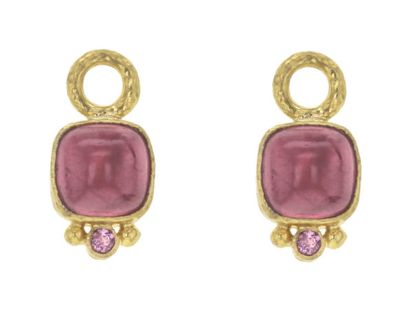 Elizabeth Locke Cushion Cabochon and Faceted Pink Tourmaline Earring Charms for Hoops thumbnail