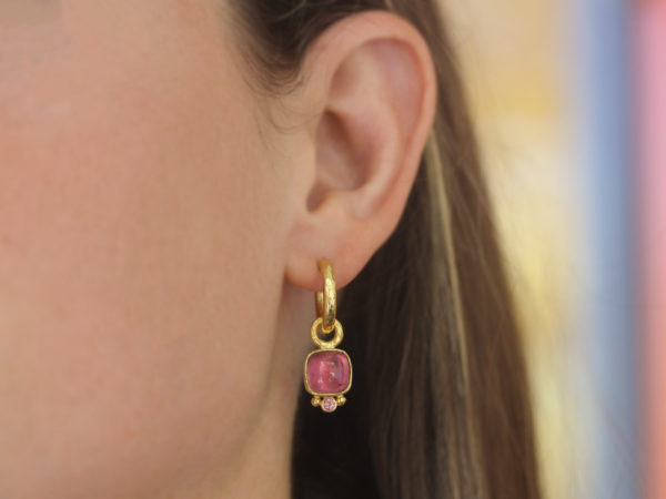 Elizabeth Locke Cushion Cabochon and Faceted Pink Tourmaline Earring Charms for Hoops