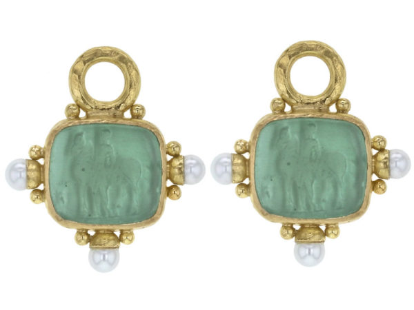 """Elizabeth Locke Nile Venetian Glass Intaglio """"God with Horse"""" Earring Charms For Hoops with Pearl and Side Gold Dots thumbnail"""