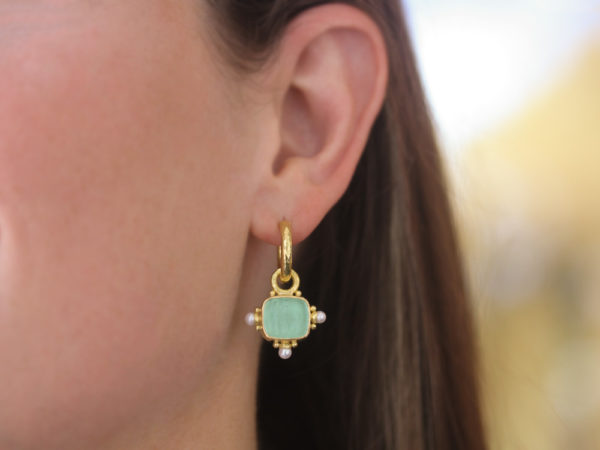 """Elizabeth Locke Nile Venetian Glass Intaglio """"God with Horse"""" Earring Charms For Hoops with Pearl and Side Gold Dots"""