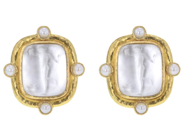 "Elizabeth Locke Crystal Venetian Glass Intaglio ""Greek Muse"" Earrings With Four Pearls Set On Godron Bezel thumbnail"