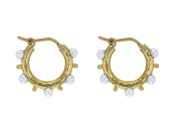 Elizabeth Locke Big Baby Hoops With Pearls and Gold Dots thumbnail
