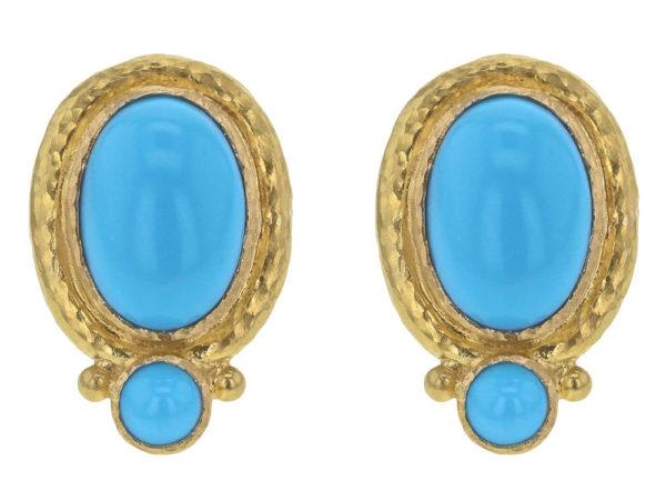 Elizabeth Locke Vertical Oval Turquoise Earrings thumbnail