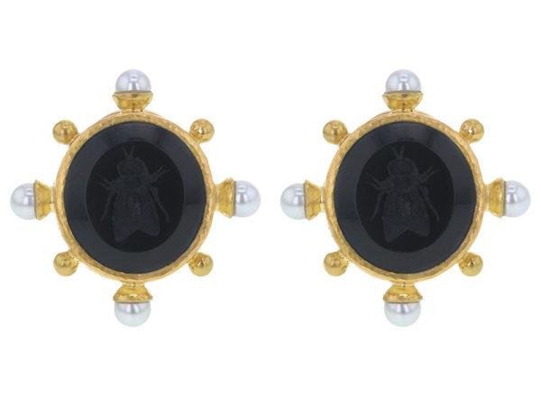 """Elizabeth Locke Black Venetian Glass Intaglio """"Demel Bee"""" Earrings With Pearls Spokes and Gold Dots thumbnail"""