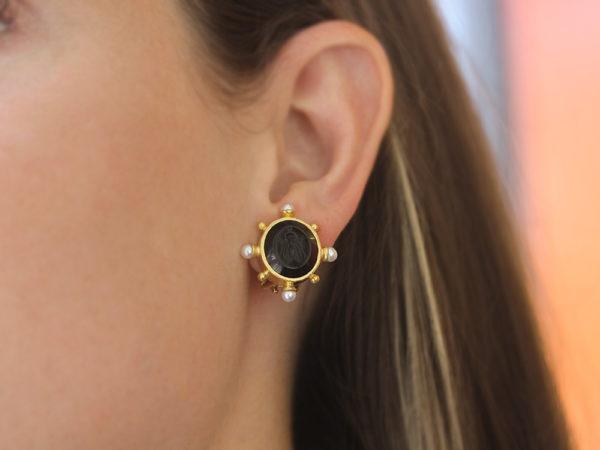 """Elizabeth Locke Black Venetian Glass Intaglio """"Demel Bee"""" Earrings With Pearls Spokes and Gold Dots"""