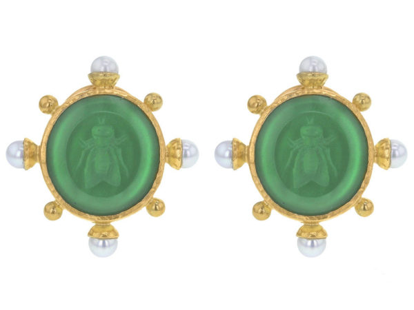 "Elizabeth Locke Green Venetian Glass Intaglio ""Demel Bee"" Earrings With Pearls Spokes and Gold Dots thumbnail"