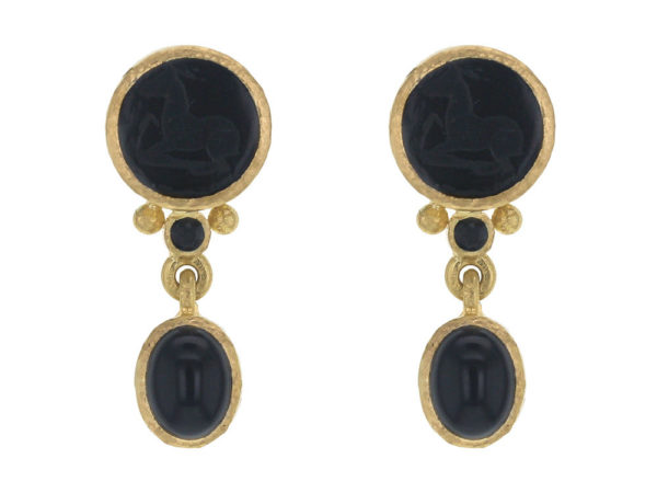 "Elizabeth Locke Black Venetian Glass Intaglio ""Tiny Horse"" Stud Earrings With Bottom Faceted Black Spinel and Swinging Onyx thumbnail"