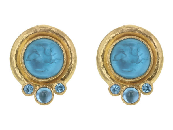 "Elizabeth Locke Teal Venetian Glass Intaglio ""Cabochon Tiny Griffin"" Earrings with Blue Zircon thumbnail"