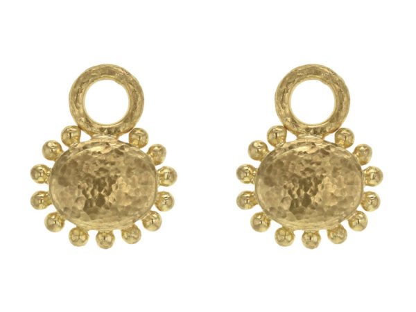 Elizabeth Locke Horizontal Oval Gold Dome Earring Charms For Hoops With Granulated Edge thumbnail